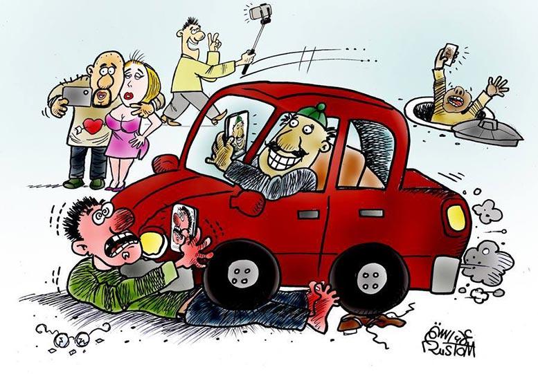 Vår besatthet av mobiltelefonen tecknad av Alaa Rostrom.